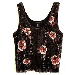 Forever 21 Black Sequence Tank Blouse